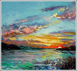 "Sunset at Carton's Point, Massena, NY 20""x22"""